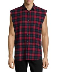 Nana Judy Cut Off Sleeve Flannel Shirt Red