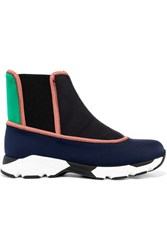 Marni Color Block Neoprene Slip On High Top Sneakers Midnight Blue