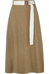 Tibi Linen Blend Twill Wrap Midi Skirt Army Green