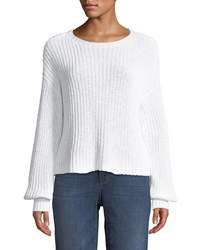 Eileen Fisher Organic Cotton Round Neck Sweater Petite White