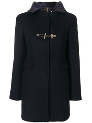 Fay Hooded Coat Women Acrylic Polyamide Polyester Virgin Wool M Blue