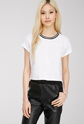 Forever 21 Striped Crew Neck Tee White