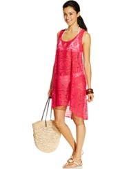 Profile By Gottex Crochet High Low Cover Up Women's Swimsuit Raspberry
