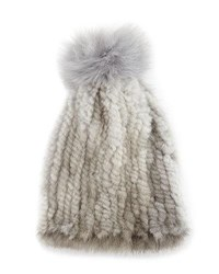 La Fiorentina Mink And Fox Fur Pompom Beanie Hat Gray