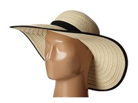 Ivanka Trump Grosgrain Trim Floppy Hat Natural Black Caps Beige