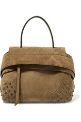 Tod's Wave Mini Suede Tote Army Green