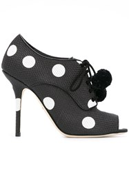 Dolce And Gabbana Polka Dot Open Toe Pumps Black