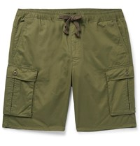 Remi Relief Slim Fit Cotton And Linen Blend Cargo Shorts Green