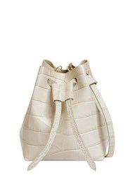 Nanushka Croc Embossed Leather Shoulder Bag Ivory