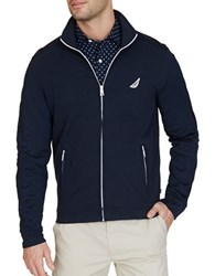 Nautica Slim Fit French Terry Track Jacket True Navy
