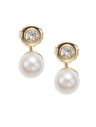 Anzie Classique 10Mm Freshwater Pearl Topaz And 14K Yellow Gold Drop Earrings Gold Pearl