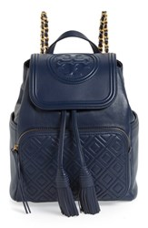 Tory Burch Fleming Lambskin Leather Backpack Blue Royal Navy