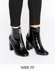 Asos Elspeth Wide Fit Zip Front Boots Black Patent