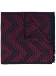 Emporio Armani Logo Embroidered Fringed Scarf