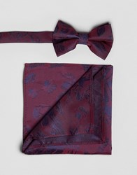 Asos Floral Bow Tie And Pocket Square Set In Burgundy Red