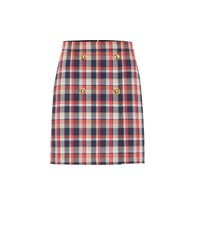 Tory Burch Checked Cotton Blend Miniskirt Red