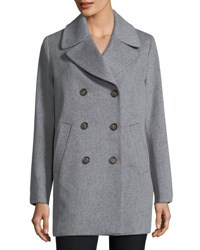 Fleurette Double Breasted Wool Boyfriend Pea Coat Grey Heather