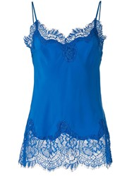 Gold Hawk Lace Trimmed Cami Top Blue