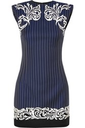 Versace Satin Trimmed Embroidered Pinstriped Wool Mini Dress Navy