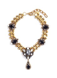 Erickson Beamon 'Dark Shadows' Swarovski Crystal Link Chain Pendant Necklace Metallic