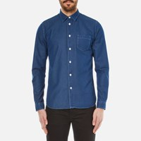 Folk Men's Long Sleeve Shirt Bleached Denim Blue
