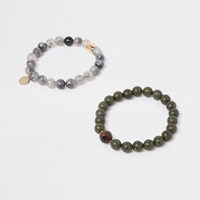 River Island Green Beaded Bracelet Pack