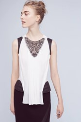 Anthropologie Lidia Leather Trimmed Tank White