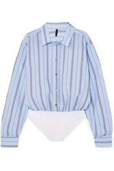Unravel Project Distressed Striped Cotton Blend Voile And Poplin Bodysuit Light Blue Gbp
