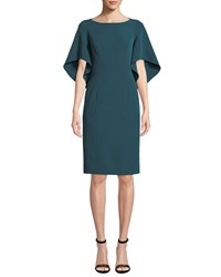 Milly Mila Boat Neck Butterfly Sleeve Italian Cady Sheath Dress Peacock