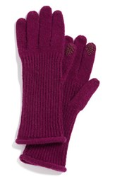 Women's Halogen 'Touch Tech' Cashmere Gloves Purple Purple Dark
