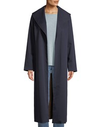 Eileen Fisher Wide Collar Twill Belted Long Coat Plus Size Midnight