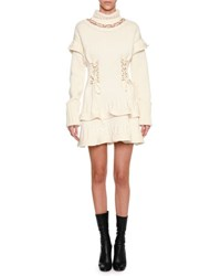 Alexander Mcqueen Mock Neck Lace Up Sweaterdress Ivory