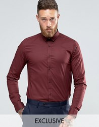 Only And Sons Skinny Shirt With Stretch Burgundy Red