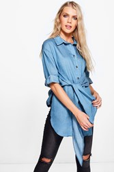 Boohoo Tie Waist Chambray Denim Shirt Mid Blue