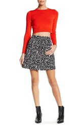 Opening Ceremony Leopard Print Genuine Suede Mini Skirt Black