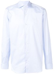 Barba Long Sleeve Fitted Shirt Blue