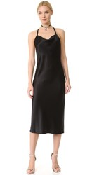 Fleur Du Mal Cowl Neck Bias Slip Dress Black