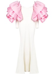 Christian Siriano Puff Sleeve Gown White