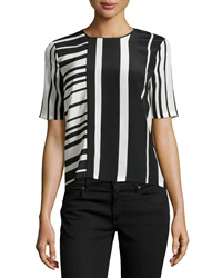 Bcbgmaxazria Gizi Mixed Stripe Blouse Black Combo