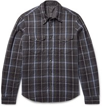 Aspesi Reversible Thermore Padded Flannel And Shell Shirt Jacket Dark Gray