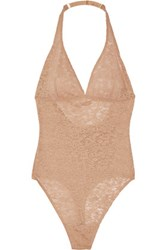Yummie Tummie By Heather Thomson Cooper Stretch Lace Bodysuit Beige