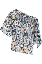Chloe Bow Embellished Printed Cotton Gauze Top Blue
