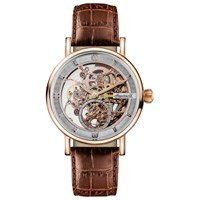 Ingersoll Men's The Herald Skeleton Automatic Leather Strap Watch Brown Rose Gold