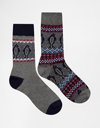 Asos Boot Socks 2 Pack With Christmas Fair Isle Grey