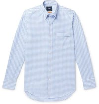 Drakes Drake's Easyday Slim Fit Button Down Collar Checked Cotton Oxford Shirt Blue