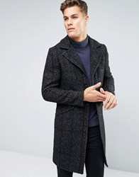 Sisley Wool Overcoat With Stripe Herringbone Detail Charcoal 901 Grey