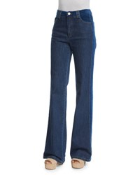 See By Chloe High Rise Velvet Trim Jeans Washed Indigo