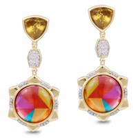 Lmj Girl On Fire Earrings Red Gold Pink