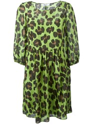 Blugirl Leopard Print Flared Dress Green