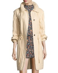 Isabel Marant Boyd Quilted Mid Length Jacket Neutral Neutral Pattern